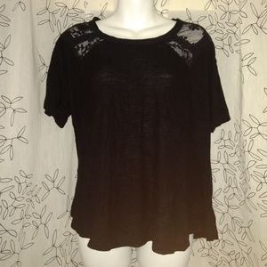 Torrid 0 Black burnout lace sheer short sleeve top